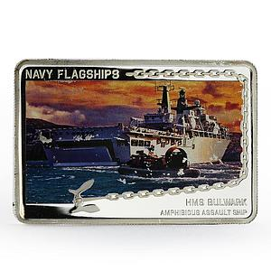 Tanzania 500 shillings Navy Flagships series HMS Bulwark proof silver coin 2014