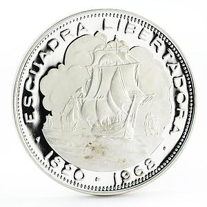 Chile 10 pesos Escuadra Libertadora Ship proof silver coin 1968