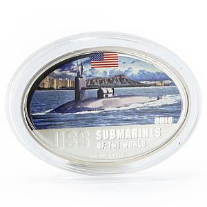 Fiji 2 dollars Submarines of the World series USS Ohio colored silver coin 2010