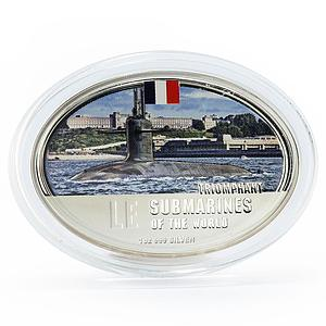Fiji 2 dollars Submarines of the World series Triomphant proof silver coin 2010
