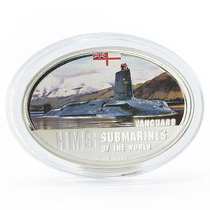 Fiji 2 dollars Submarines of the World series HMS Vanguard silver coin 2010