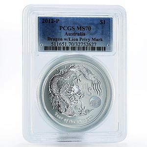 Australia 1 dollar Year of the Dragon with Lion Mark MS70 PCGS silver coin 2012