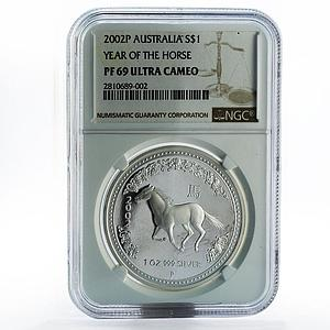 Australia 1 dollar Year of the Horse PF69 NGC silver coin 2002