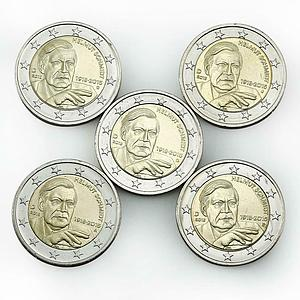 Germany 2 Euro set of 5 coins Helmut Schmidt 2018