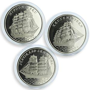 Gilbert Islands 1 dollar set of 3 coins Kruzenshtern Nipoon Maru Statsraad 2018