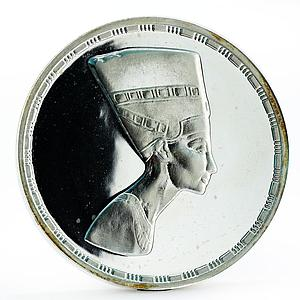 Egypt 5 onza History of Ancient Egypt series Nefertiti proof silver medal 1987