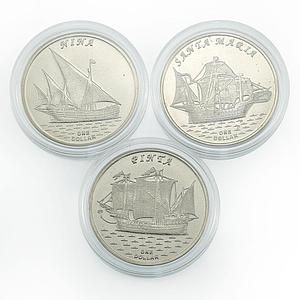 Gilbert Islands set of 3 coins Santa Maria Pinta Nina Ships 2016