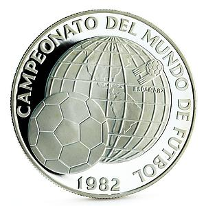 Panama 5 balboas Football World Cup in Spain Championship proof silver coin 1982