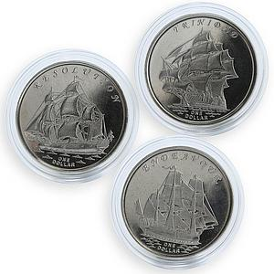 Gilbert Islands set of 3 coins Ships Resolution Endeavour Trinidad 2014