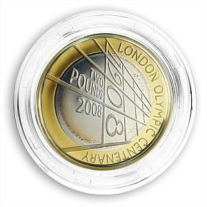 Great Britain £2 pound The 4th Olympiad London Anniversary Silver Gilded 2008