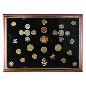 Greece, Canada, Portugal, Picture Framed set of 28 coins, Sail Boats, Anchor