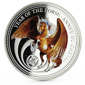 Benin 1000 francs Year of the Horse series Pegasus colored silver coin 2014