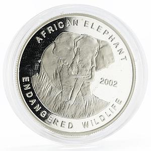Ghana 500 sika Endangered Wildlife series African Elephant silver coin 2002