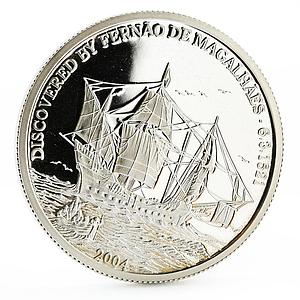 Northern Mariana Islands 5 dollars Fernando Magellan Ship proof silver coin 2004