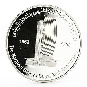 United Arab Emirates 50 dirhams 35 Years of Dubai National Bank silver coin 1998