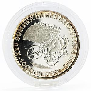 Suriname 100 guilders Barcelona Olympic Games series Cycling silver coin 1992