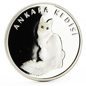 Turkey 20 lira Animal series Turkish Angora The Light Eyes Cat silver coin 2005