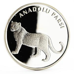 Turkey 20 lira Animal series Anatolian Leopard proof silver coin 2005