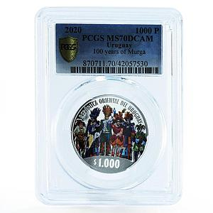 Uruguay 1000 pesos 100 Years of Murga Carnival MS70 PCGS silver coin 2020