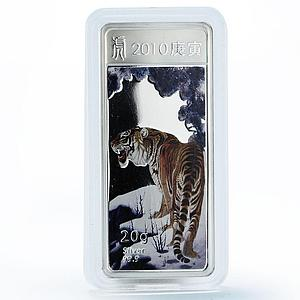 Liberia 5 dollars Lunar Calendar series Year of the Tiger silver coin 2010