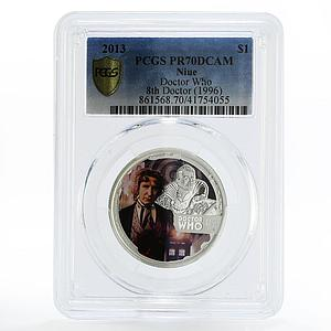 Niue 1 dollar Paul McGann the 8th Doctor Who PR70 PCGS silver coin 2013