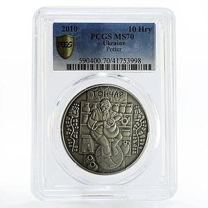 Ukraine 10 hryvnias Folk Crafts series Potter MS70 PCGS silver coin 2010