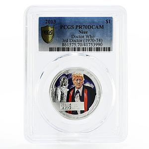 Niue 1 dollar John Pertwee the 3rd Doctor Who PR70 PCGS silver coin 2013