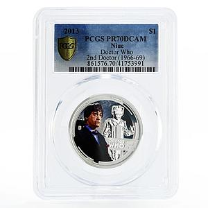 Niue 1 dollar Patrick Trought the 2nd Doctor Who PR70 PCGS silver coin 2013