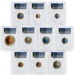 Australia set of 10 coins Planetary Coins Mars Sun Earth MS 69 - 70 PCGS 2017