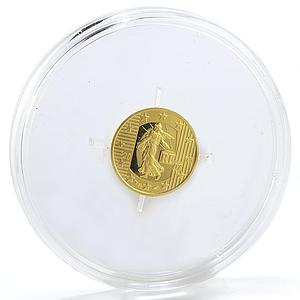 France 5 euro 5th Anniversary of the Euro Freedom Equality Fraternity gold 2007