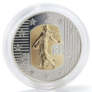 France 5 € Seed Sower Freedom Equality Fraternity silver with gold insert 2002