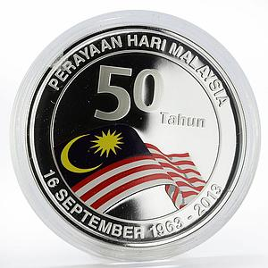 Malaysia 10 ringgit 50th Anniversary of Malaysian Flag silver proof coin 2013
