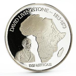 Mozambique 1000 meticais David Livingstone and African Map silver coin 2004