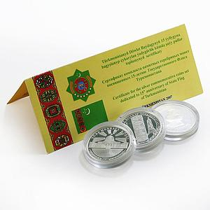 Turkmenistan set of 3 coins 15th Anniversary of the State Flag silver coins 2007