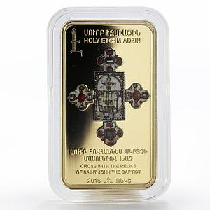Armenia 1000 dram Cross with the Relics Of St. John gilded silver coin 2016