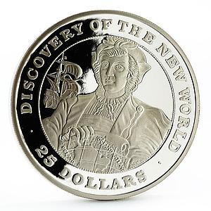 Bahamas 25 dollars Discovered New World series Columbu's Ship silver coin 1991