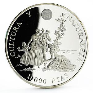 Spain 10000 pesetas Art series Naked Maja and Flower Pickers silver coin 1996
