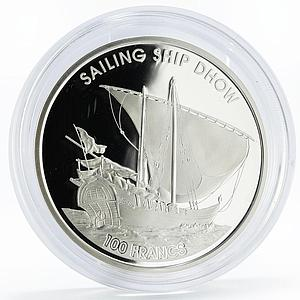 Djibouti 100 francs History in Ships series Sailing Ship Dhow silver coin 2018