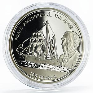 Djibouti 100 francs Roald Amundsen and His Ship The Fram silver coin 2017