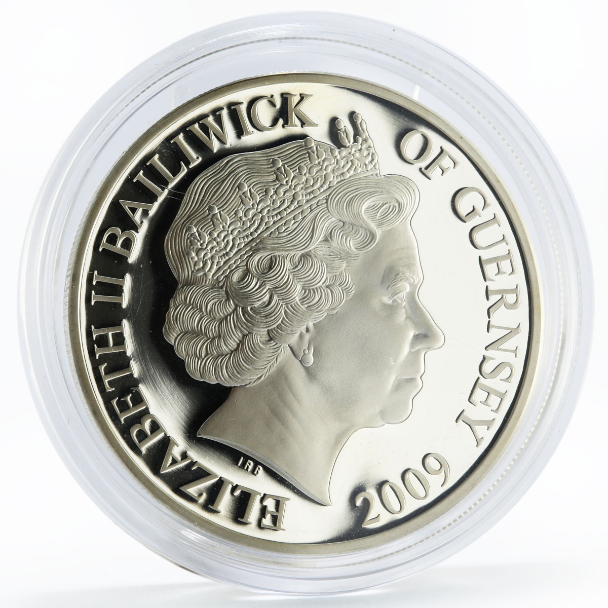 Bailiwick of Guernsey 5 pounds Endeavour Ship silver coin 2009