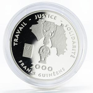 Equatorial Guinea 2000 francs State Map and Female Figure proof silver coin 2002