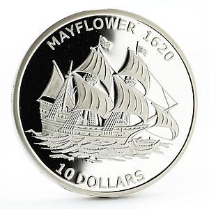Kiribati 10 dollars History in Ships series Mayflower silver coin 2011