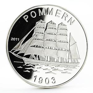 Togo 1000 francs History in Ships series Pommern 1903 proof silver coin 2011