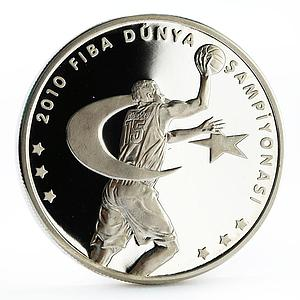 Turkey 50 lira 16th Basketball World Cup in Turkey proof silver coin 2010