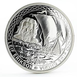 Vanuatu 10 vatu Leaf Erikson and His Viking Ship proof silver coin 2017