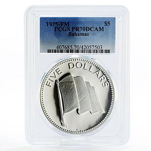 Bahamas 5 dollars The National Flag PR70 PCGS proof silver coin 1975