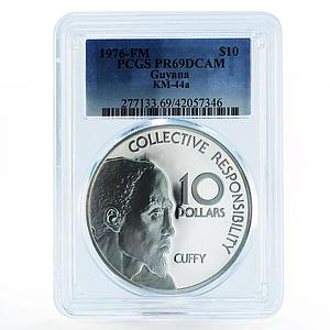 Guyana 10 dollars 10th Anniversary of Independence PR69 PCGS silver coin 1976