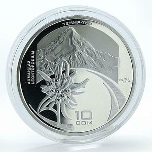 Kyrgyzstan 10 Som International Year of the Mountains Edelweiss silver coin 2002
