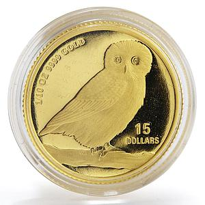 Tuvalu 15 dollar Australian Owl Wildlife Bird gold coin 1/10 oz 2007