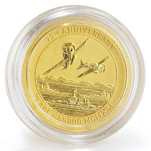 Tuvalu 15 dollar 75th Anniversary Pearl Harbor gold coin 1/10 oz 2016